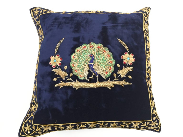 Velvet Blue Silk Pillow Embroidered with Gold Peacock For Sale 1