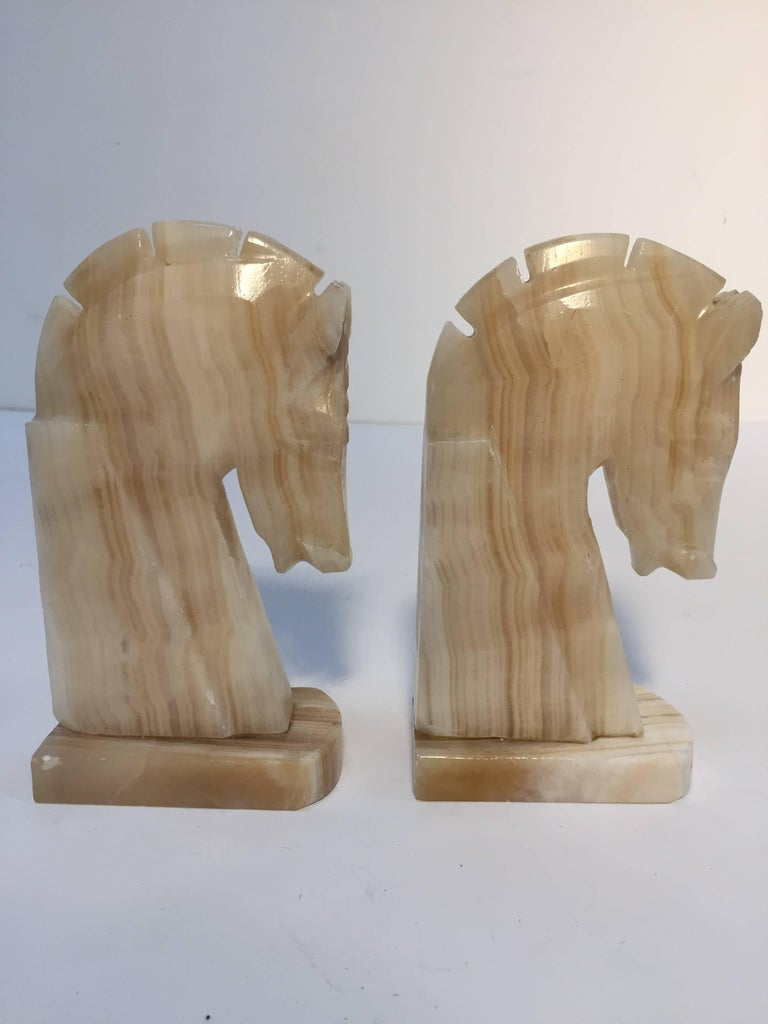 Pair Of Art Deco Onyx Horses Heads Bookends At 1stdibs