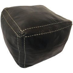 Moroccan Black Leather Square Pouf Hand Tooled in Morocco