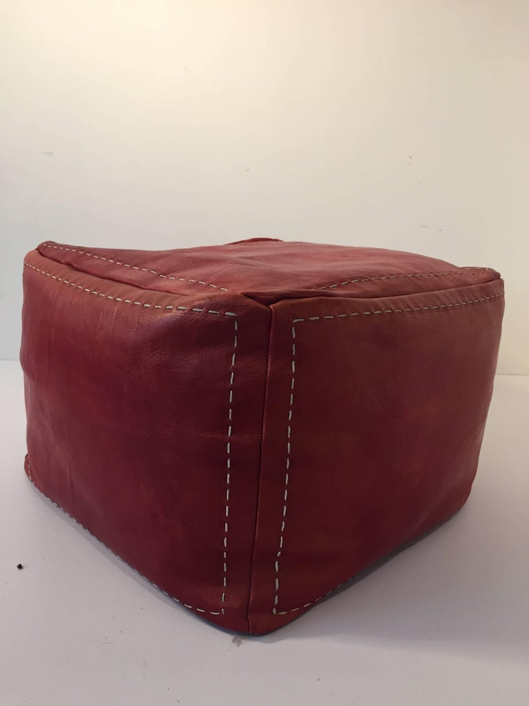 Moroccan Square Handcrafted Leather Ottoman Pouf At 1stdibs