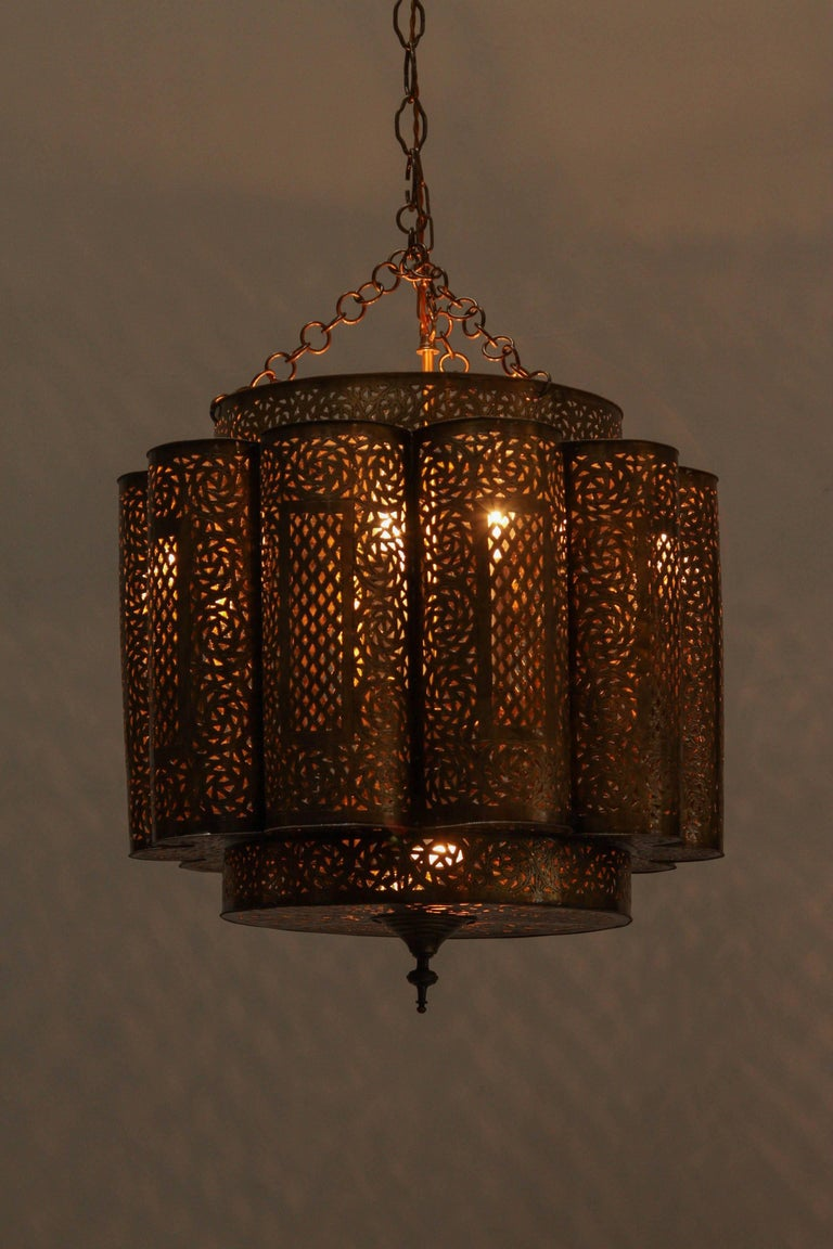 Large pair of pierced brass moroccan chandelier in alberto pinto style for sale at 1stdibs - Moorish chandelier ...