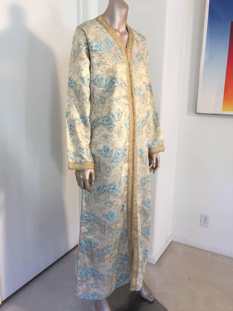 Moorish Moroccan Caftan, Turquoise and Gold Brocade Kaftan Size Medium For Sale