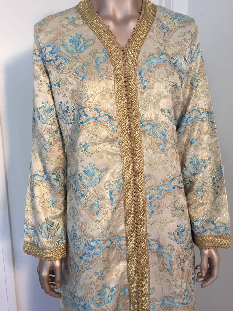 Embroidered Moroccan Caftan, Turquoise and Gold Brocade Kaftan Size Medium For Sale