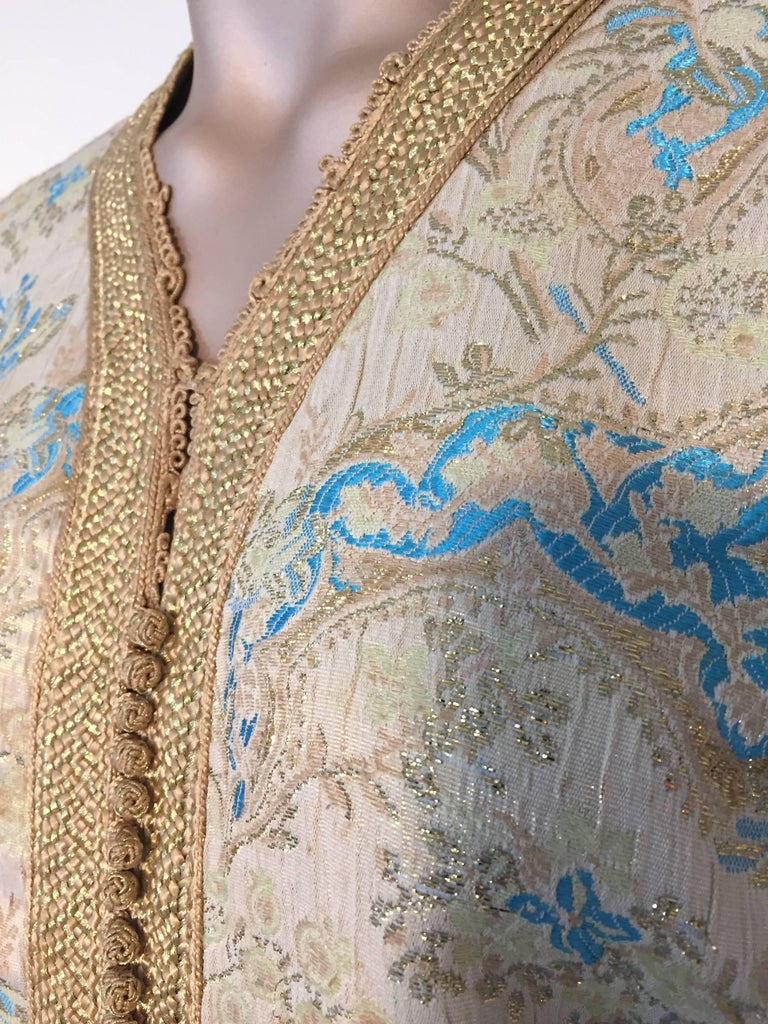 Moroccan Caftan, Turquoise and Gold Brocade Kaftan Size Medium For Sale 1
