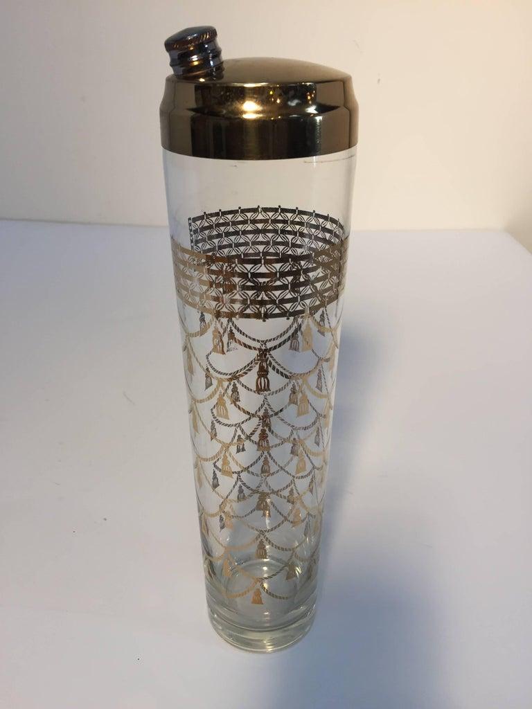 20th Century Vintage Culver Cocktail Set of Barware Glasses and Cocktail Shaker 22 Karat Gold For Sale