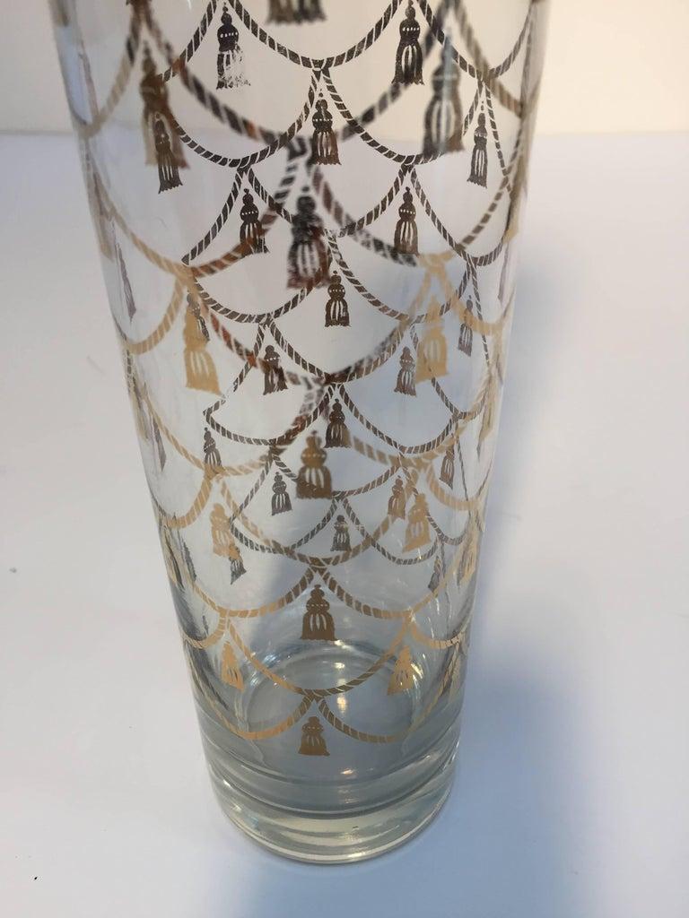Vintage Culver Cocktail Set of Barware Glasses and Cocktail Shaker 22 Karat Gold For Sale 1