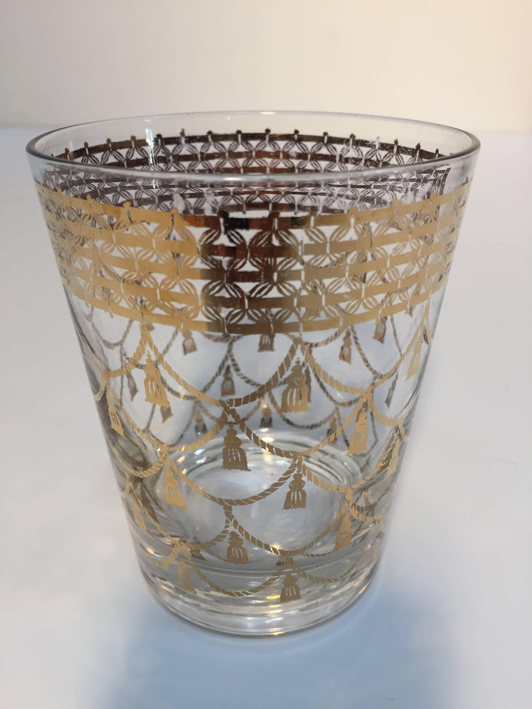 Hand-Painted Vintage Culver Cocktail Set of Barware Glasses and Cocktail Shaker 22 Karat Gold For Sale