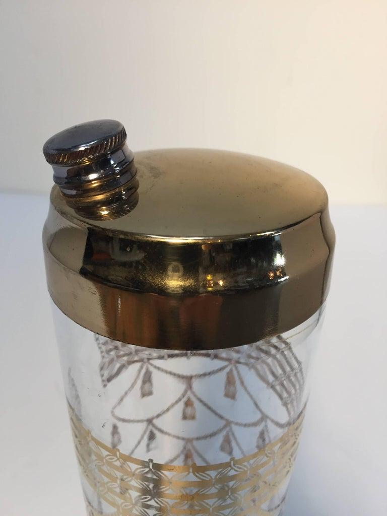 Vintage Culver Cocktail Set of Barware Glasses and Cocktail Shaker 22 Karat Gold For Sale 2