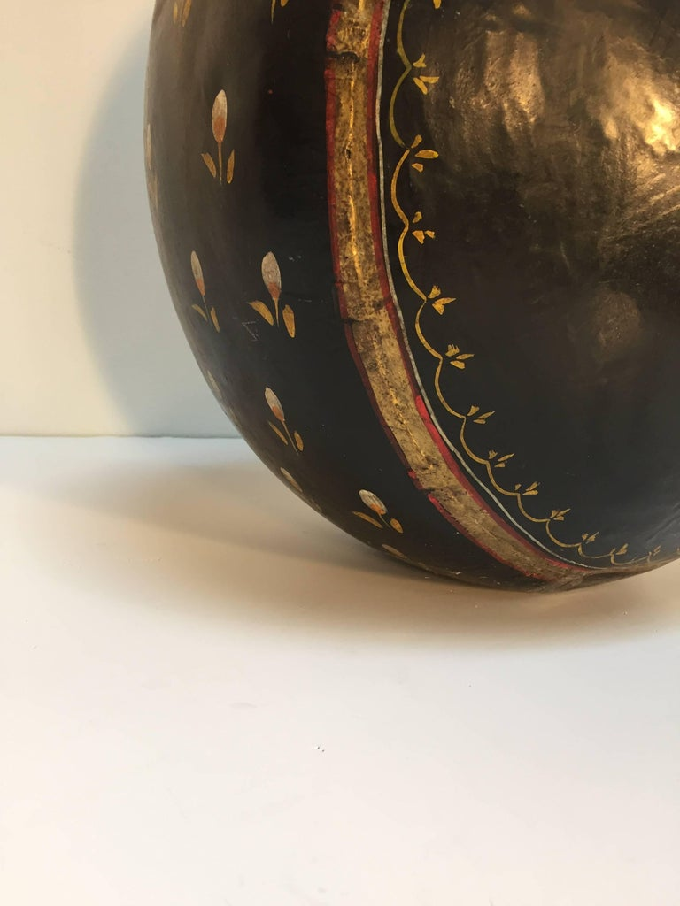 Indo-Raj large hand-hammered metal vessel, originally used to collect waters of the three sacred rivers, the Ganges and Yamuna Sarasvati, this large vessel is much more than just a piece of furniture it tells a story, tradition and handicraft of