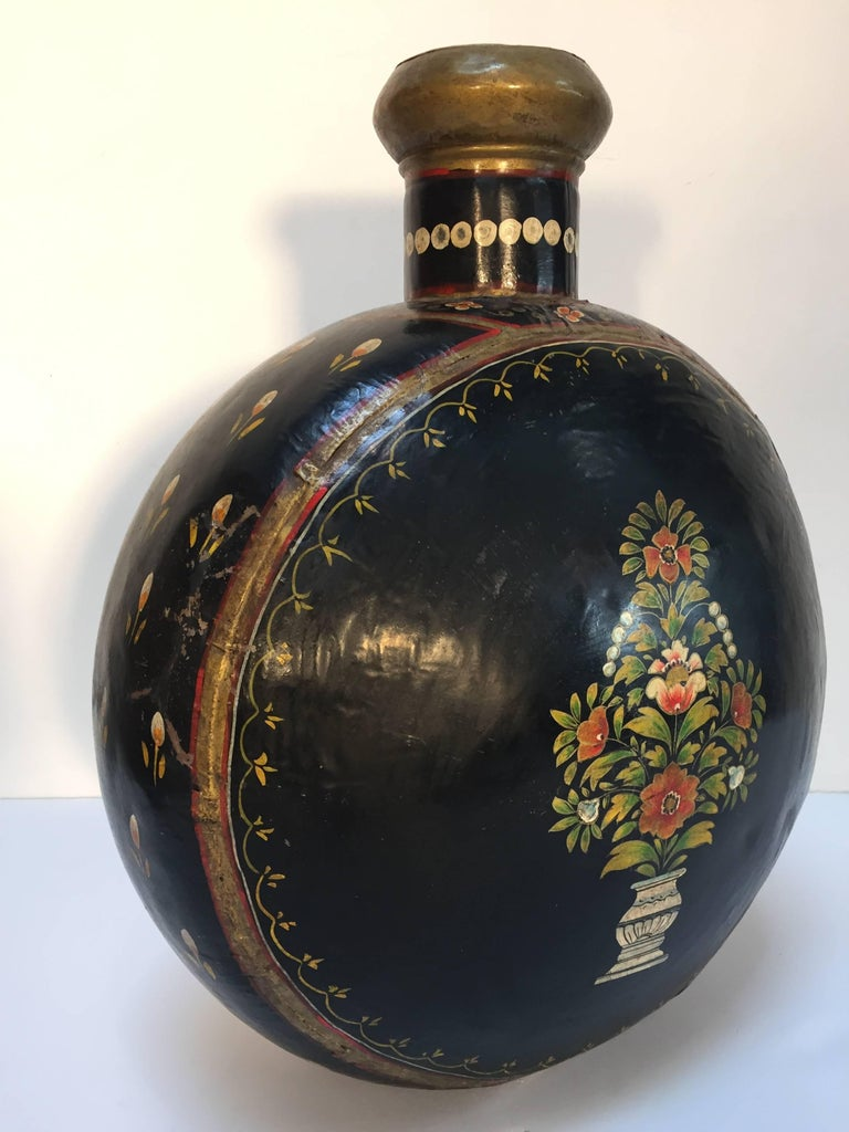 Indian Hand-Hammered Anglo Raj Black Hand-Painted Jug For Sale