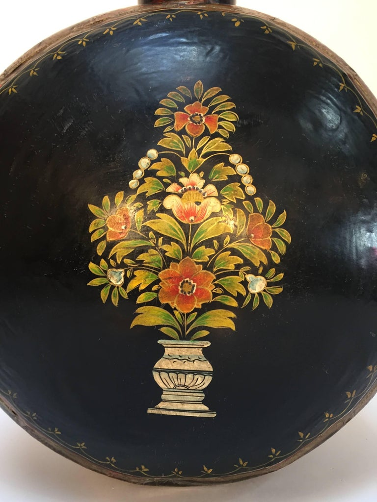 Hand-Hammered Anglo Raj Black Hand-Painted Jug For Sale 4