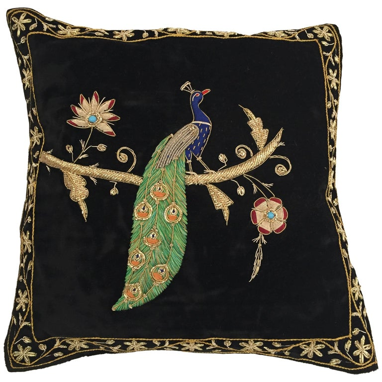 Black Velvet Silk Throw Pillow Embroidered with Gold Peacock Design For Sale