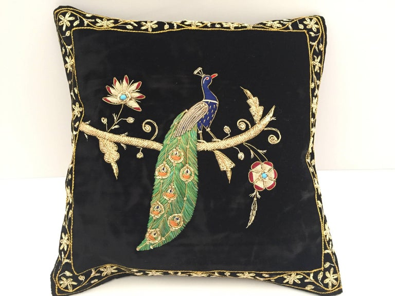 Black Velvet Silk Throw Pillow Embroidered with Gold Peacock Design For Sale 1