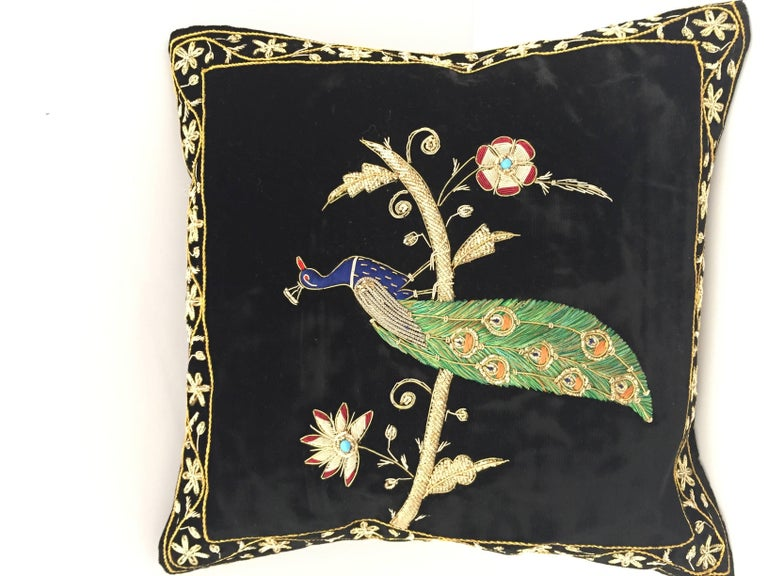 Black Velvet Silk Throw Pillow Embroidered with Gold Peacock Design For Sale 2