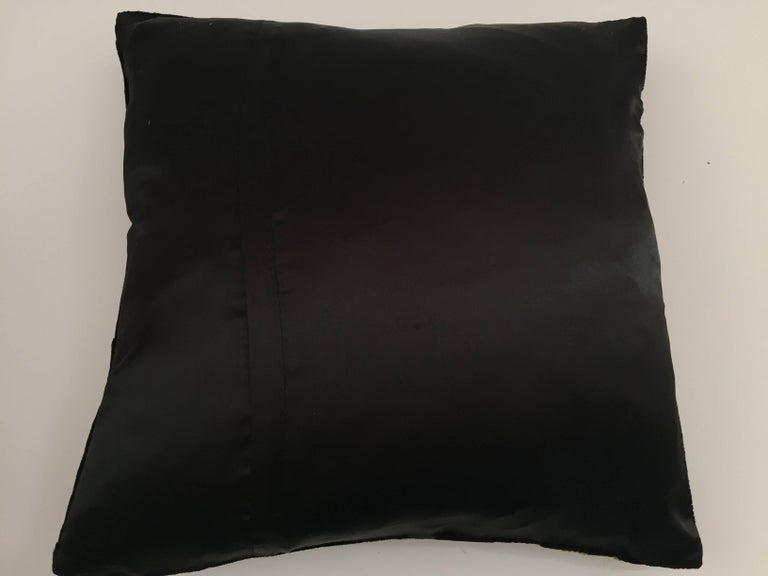 Black Velvet Silk Throw Pillow Embroidered with Gold Peacock Design For Sale 4