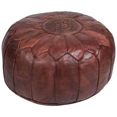 Large Vintage Round Moroccan Leather Pouf Hand Tooled In Marrakech