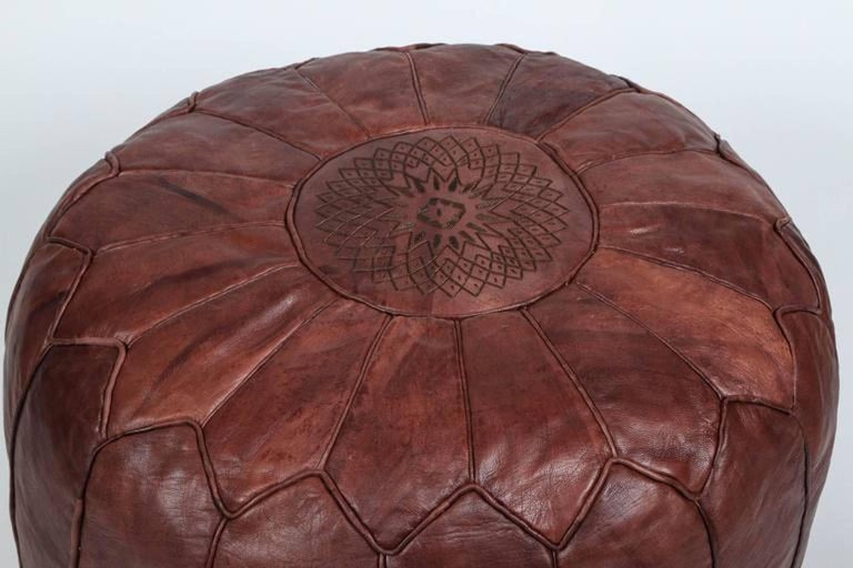 new concept aea96 7ccea Vintage Round Moroccan Chocolate Brown Leather Pouf Hand Tooled In Marrakech