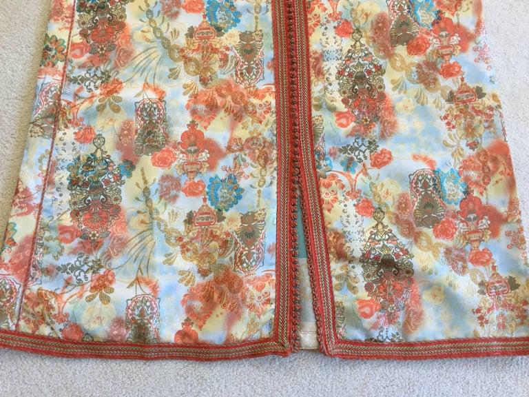 Moroccan Caftan Floral Brocade Multicolored Embroidered Kaftan 1970s For Sale 4