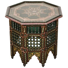 Moroccan Hand-Painted Dark Green Side Table