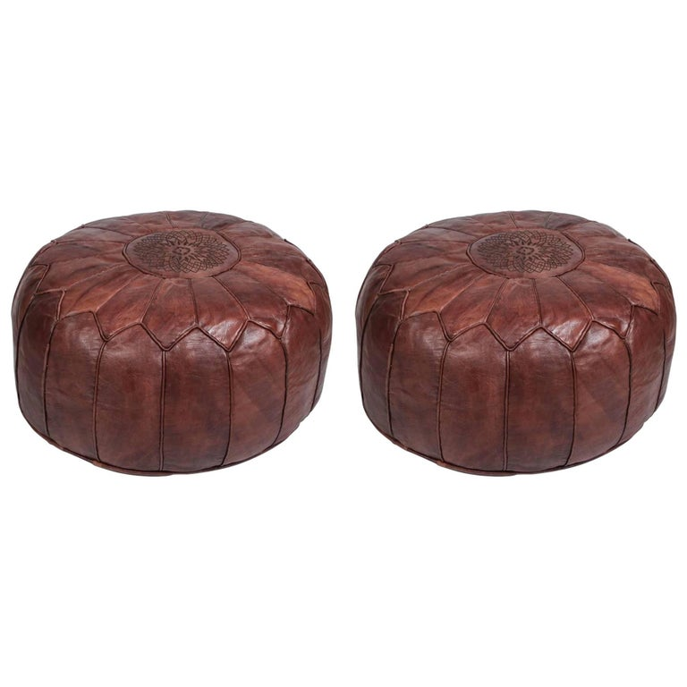 Pair Of Large Brown Moroccan Hand Tooled Leather Poufs Ottomans For