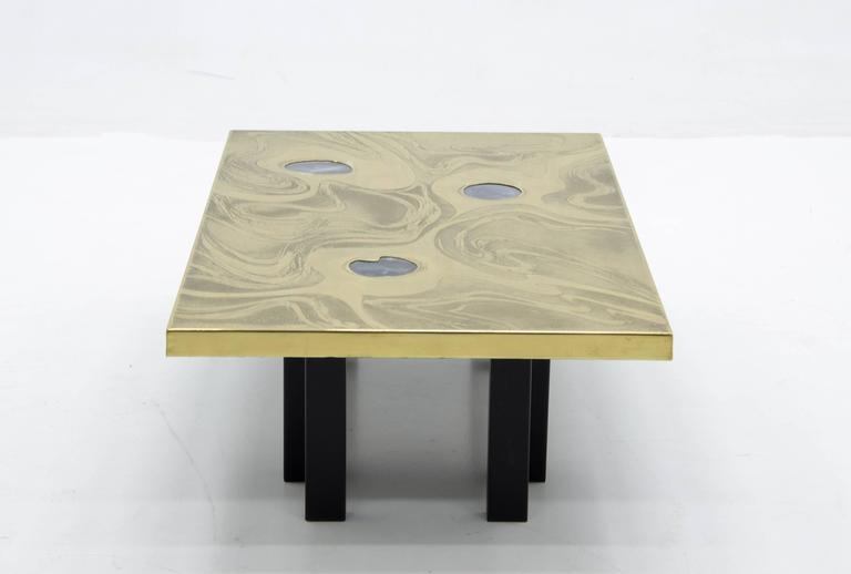 Mid-Century Modern Etched Brass Coffee Table with Three Blue Agates For Sale