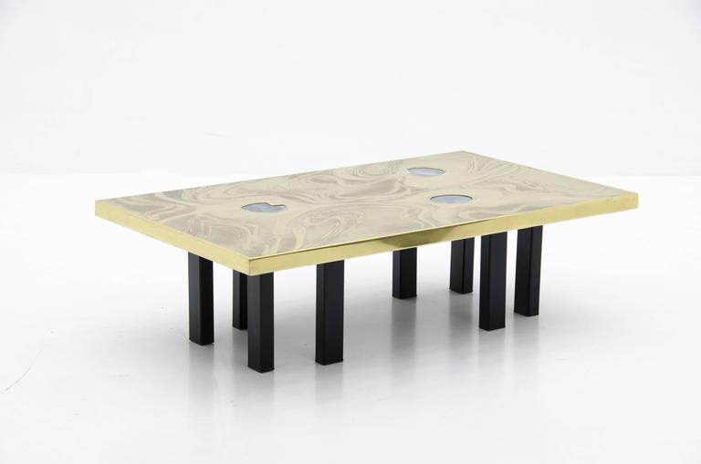 Belgian Etched Brass Coffee Table with Three Blue Agates For Sale