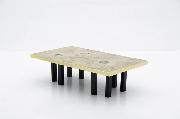 Etched Brass Coffee Table with Three Blue Agates In Excellent Condition For Sale In New York, NY