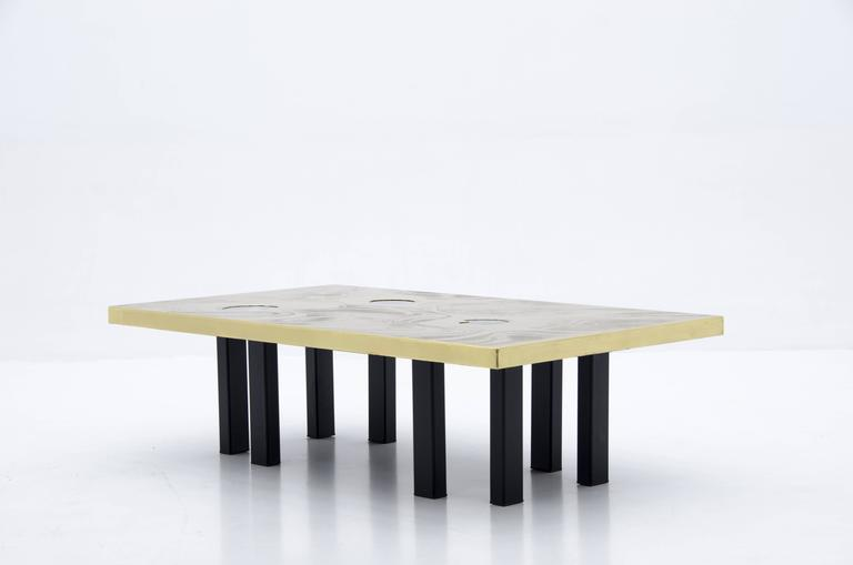 Late 20th Century Etched Brass Coffee Table with Three Blue Agates For Sale