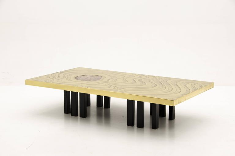 Mid-Century Modern Amazing Large Etched Brass Coffee Table by Willy Daro For Sale