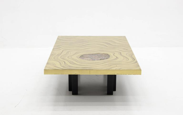 Belgian Amazing Large Etched Brass Coffee Table by Willy Daro For Sale