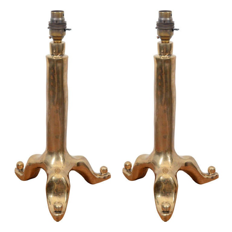 Pair of Bronze Table Lamps by Garouste and Bonetti