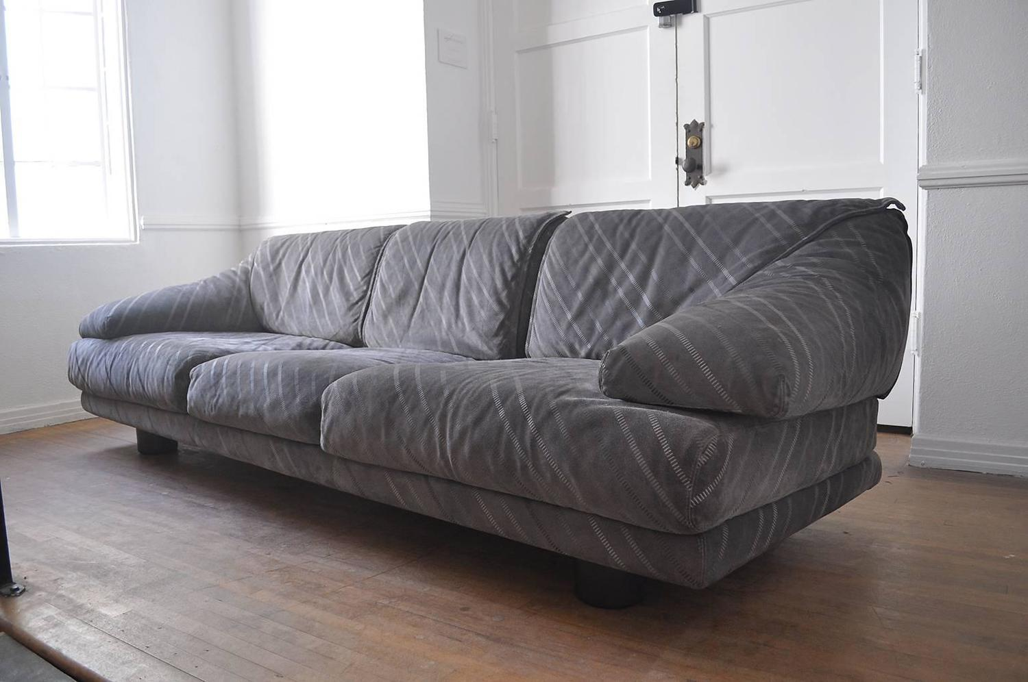 Saporiti suede three seat sofa for sale at 1stdibs for Suede couches for sale
