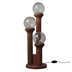 1970s Wood and Glass Table Lamp
