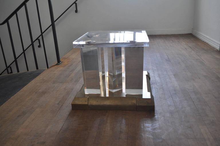 Unknown 1970s Lucite and Brass Side Table For Sale