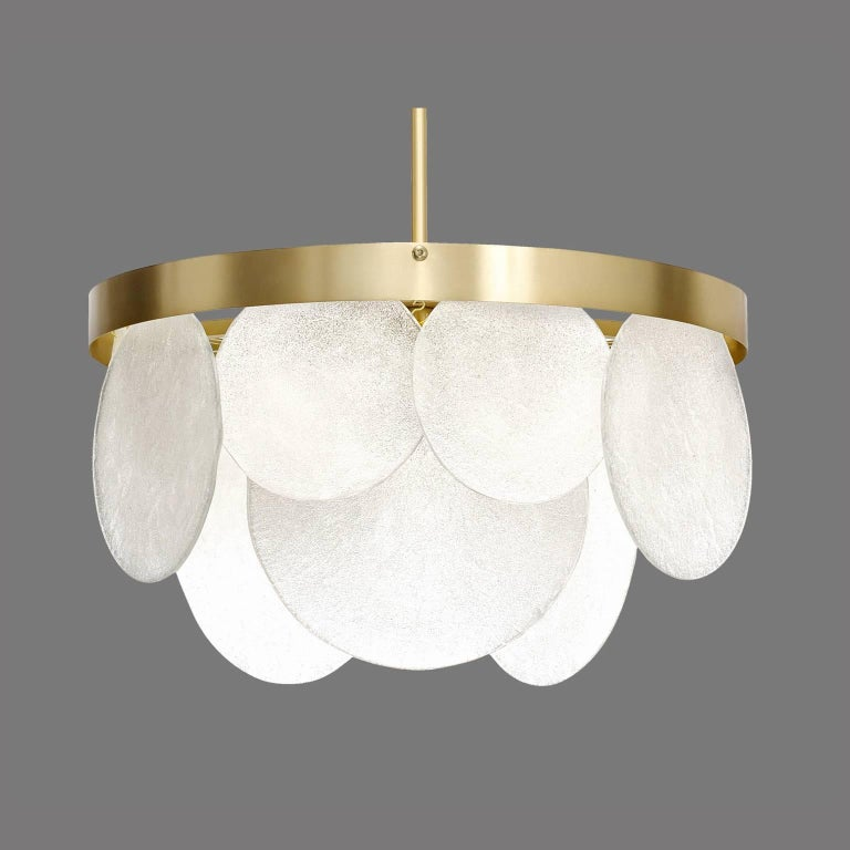 The Sasha chandelier light consists of handmade glass and satin brass. Quantities available. Additional options available: Wall Light and other chandelier variations. . Bespoke also available. Supplied with standard drop rod 39.4 inch (adjustable on
