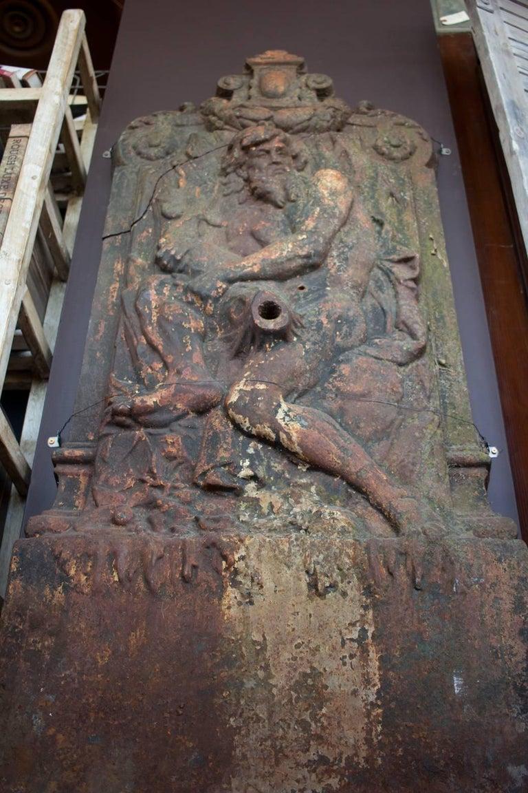 Antique Cast Iron Italian Renaissance Style Wall Fountain