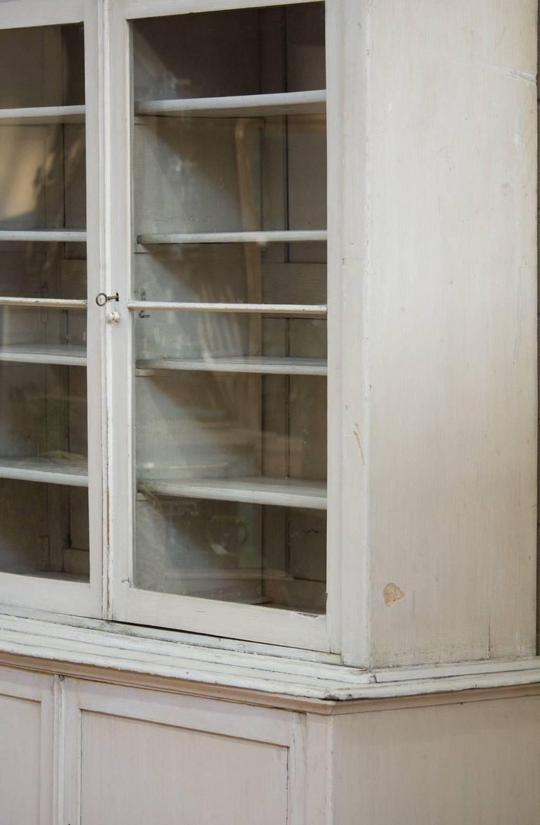 Wood Large Antique English Bookcase For Sale