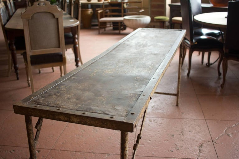 European Metal Folding Potting/Garden Table For Sale