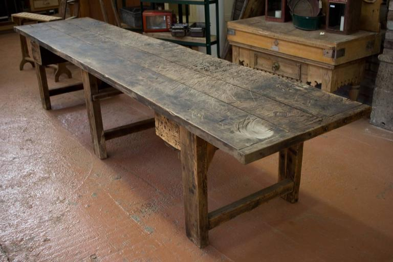 Substantial Antique French Industrial Work Table At 1stdibs