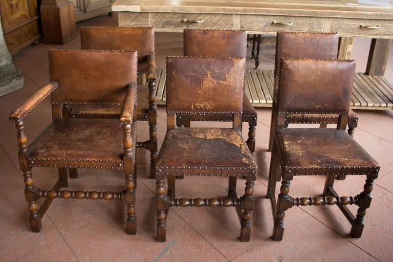 set of six antique english arts and crafts leather dining