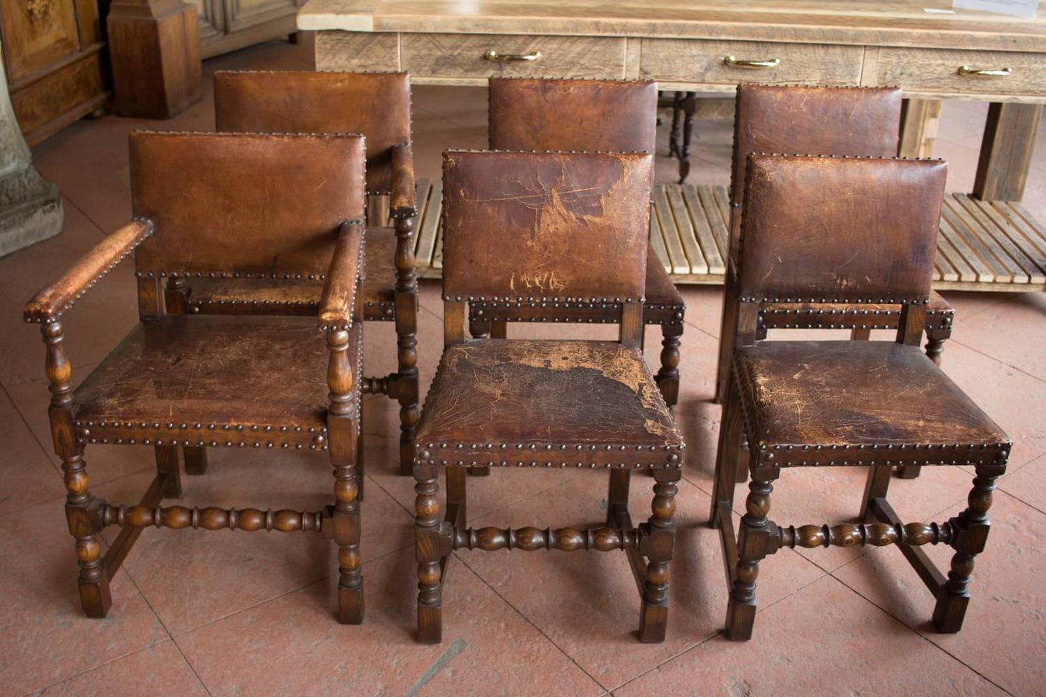 Arts And Crafts Dining Room: Set Of Six Antique English Arts And Crafts Leather Dining