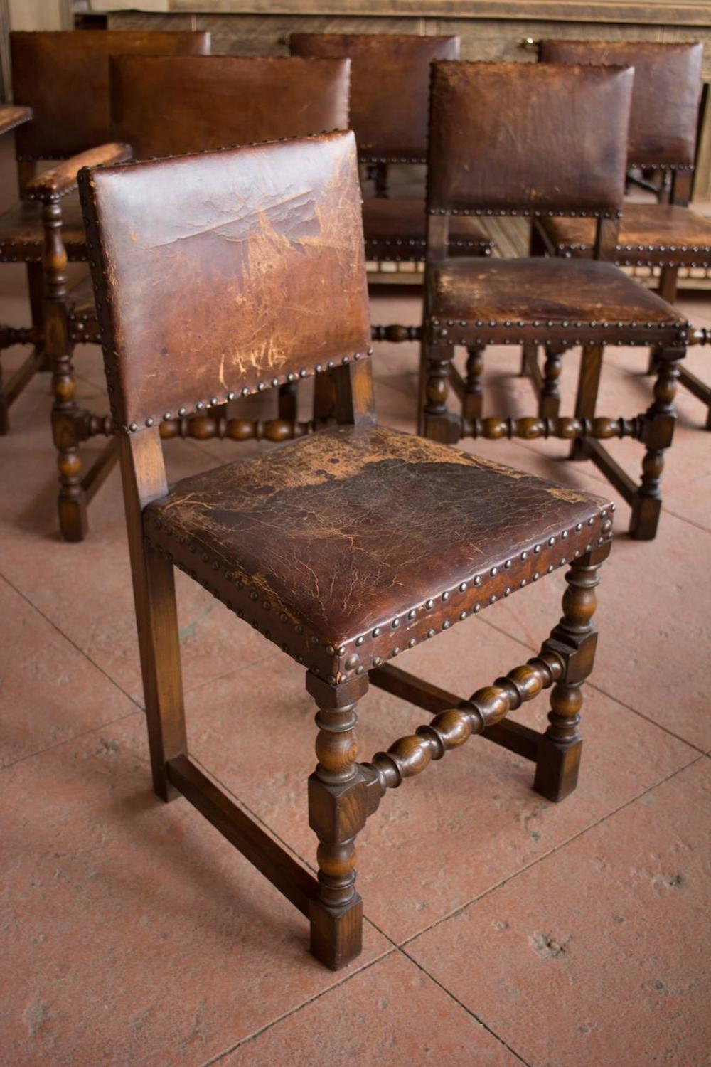 set of six antique english arts and crafts leather dining room chairs