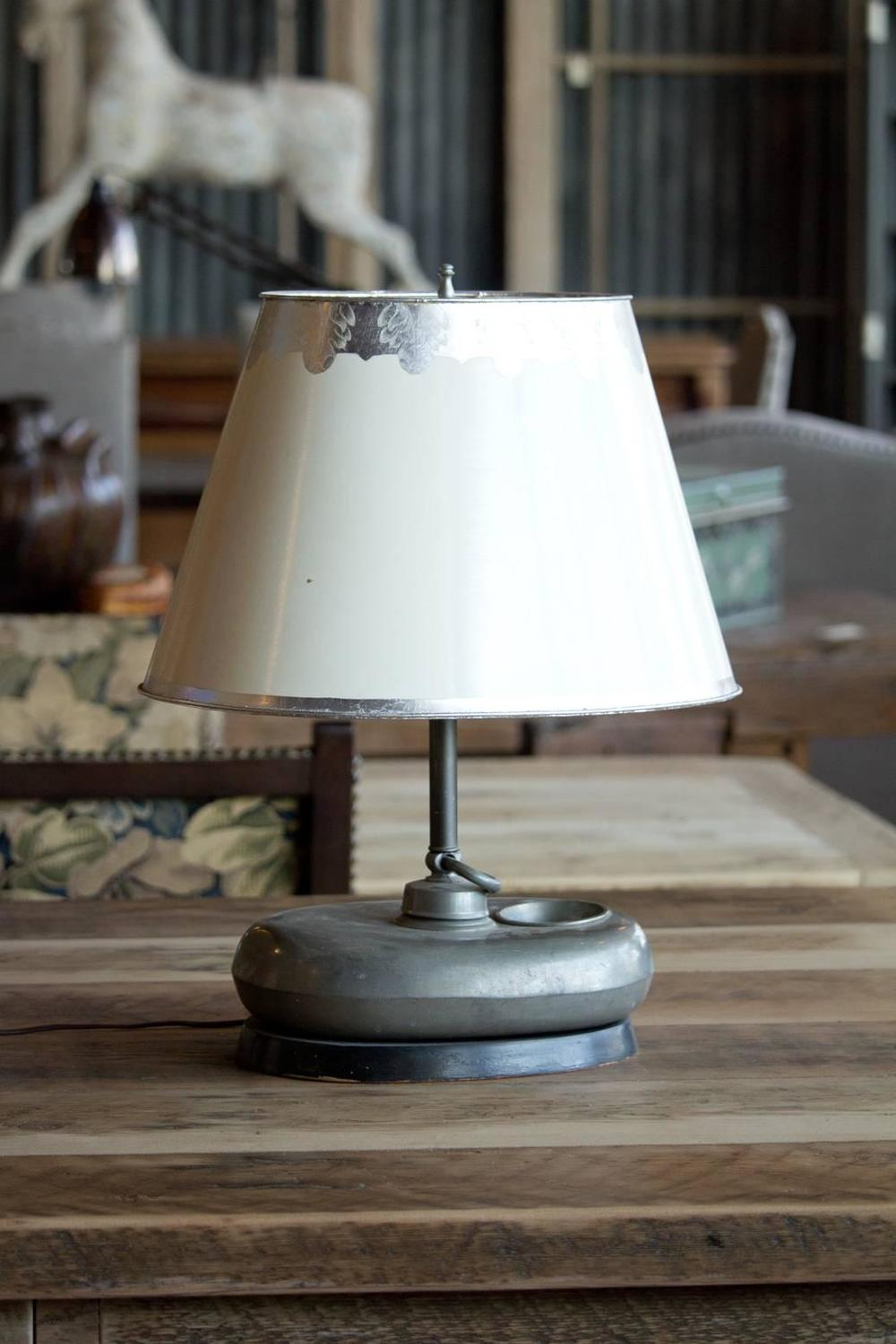 Antique Pewter Belgian Table Lamp For Sale At 1stdibs