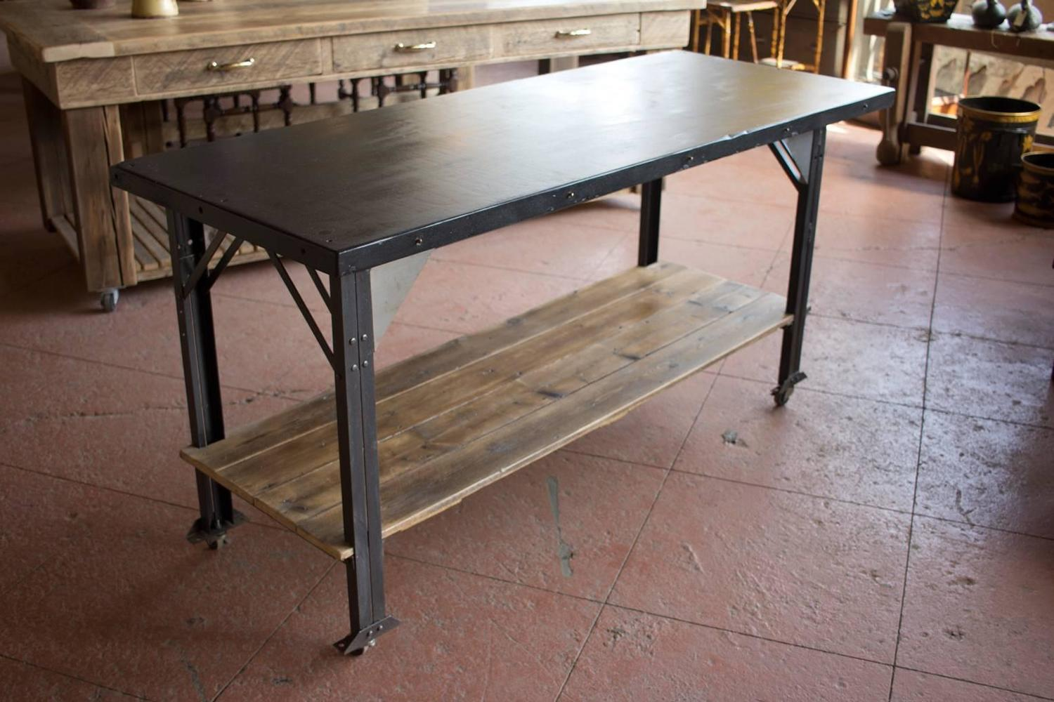 19th Century Slate and Metal Kitchen Island at 1stdibs