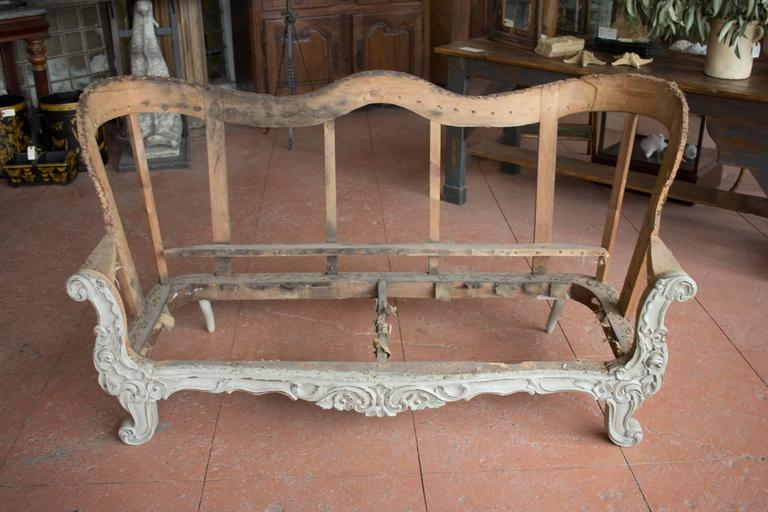 Attractive 19th Century Carved Wood Sofa Frame 3