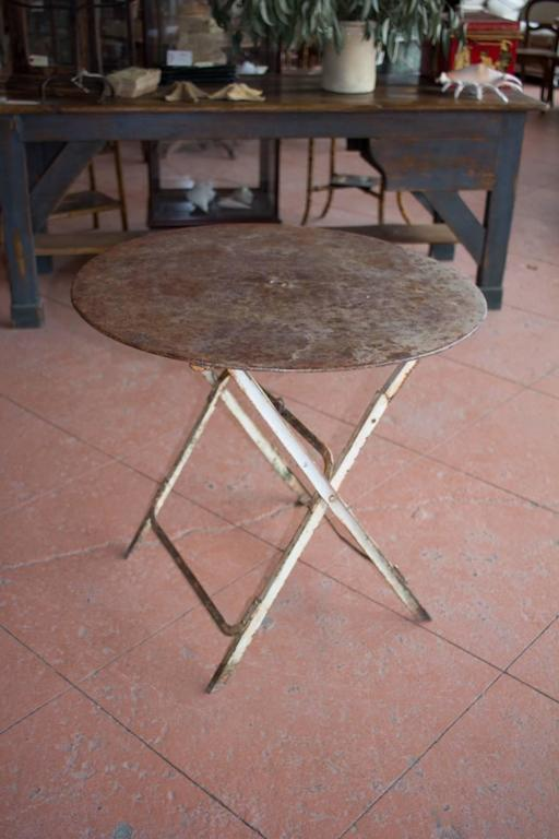 Antique French Folding Bistro Or Garden Table For Sale At