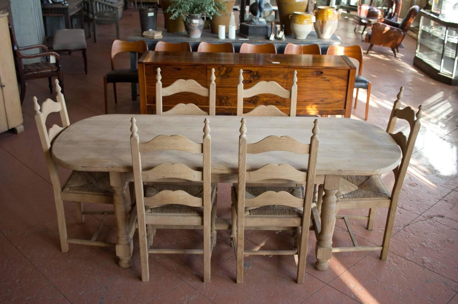 Vintage French Oak Oval Table And Six Chairs For Sale At