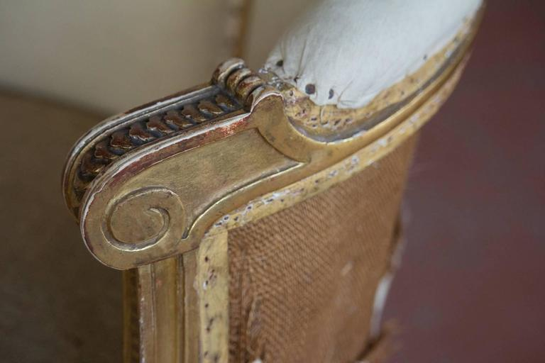 19th Century Petite French Bergère Settee For Sale