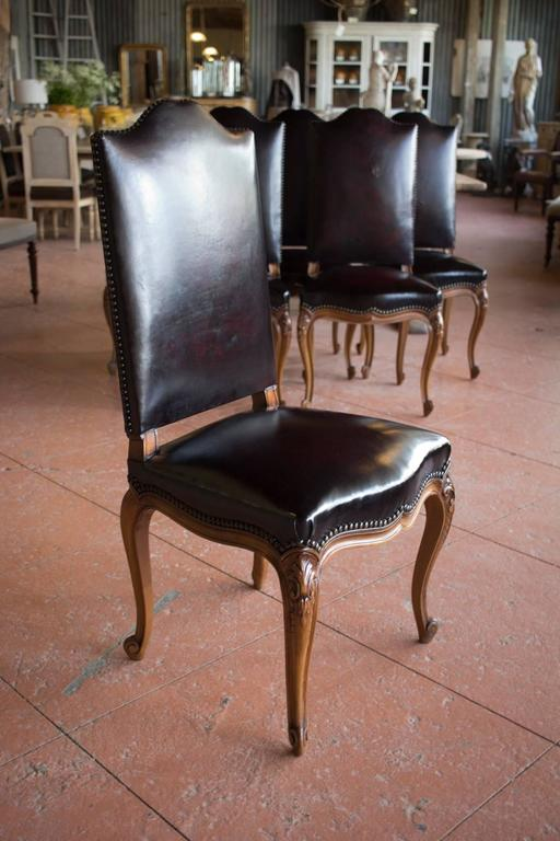 Set Of Six French Antique Leather Dining Room Chairs For