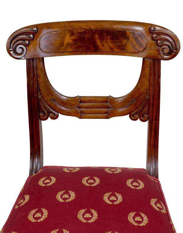 Mahogany Important Rare Set of Six Neoclassical Side Chairs, Boston, circa 1815 For Sale